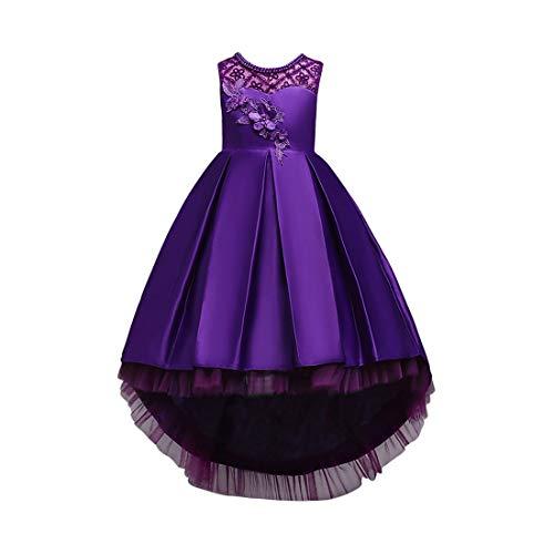 Zhhlaixing Prinzessin Kleid für Mädchen - Mädchen Brautjungfer Kleid Sleeveless Trailing Röcke Formale Hochzeit Taufe Kleid Prinzessin Mädchen Kleider Kid Kleidung 5-16 Jahre