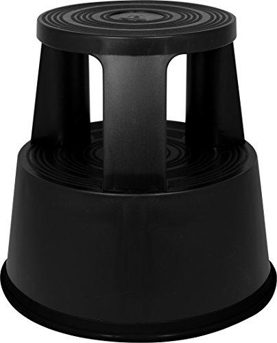 Pavo 8042005 Roll-Tritt-Arbeits Hocker  Roll-Stufen Tritt, Elefantenfuß  Steighilfe TÜV & GS geprüft bis 150 kg, kunststoff schwarz