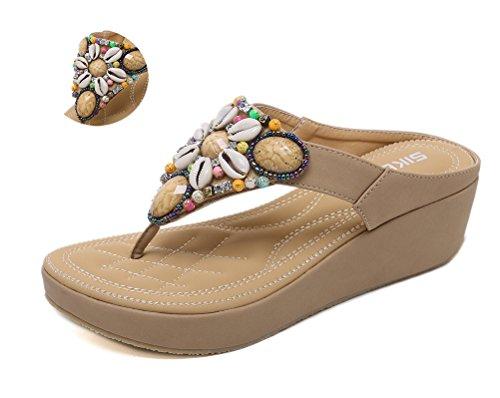 CCZZ Sandali da Donna da Estate Boemo Piatti Tacco Pantofole Modello con Infradito Perline Decorare a Forma di Fiore Grandi Dimensioni 35-45