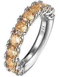 Esprit Collection Damen-Ring 925 Sterling Silber rhodiniert Kristall Zirkonia Idya summer orange