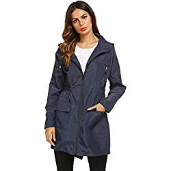 Chaqueta Impermeable Mujer con Capucha Ajustable