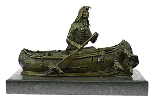 ptur Bronze Statue Ureinwohnerleiter Embark In Kanu Figur Kunst-Dekor-JPyrd-1147- Decor Sammler Geschenk (Kanu-dekor)