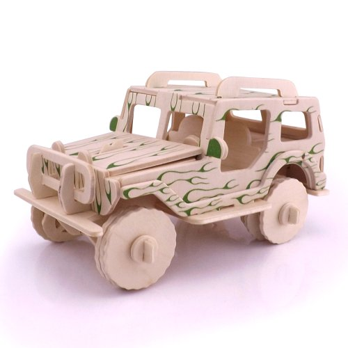 3D Woodcraft Wooden Construction Kit Wood Model Puzzle (Jeep)