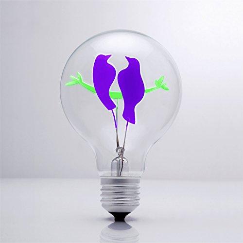 DarkSteve - Uccello coppia - Vintage Grande lampadina Globo con gabbia di luce filamento della lampadina 3W tappo a vite E27 / Decorativo lampadine # 1 regalo unico