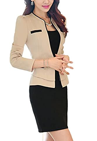 SK Studio Women's Two piece Jacket Slim Fit Skirt Business Suits Set Beige 8