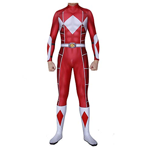 Power Rangers Kostüm Erwachsene Verkleidung Kinder Superhelden Kostüme,Cosplay Partei Kostüm,Held Halloween Karneval Fasching Cosplay,AdultRed-XXXL