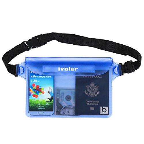 Ivoler sacchetto impermeabile, custodia borsa impermeabile dry bag marsupio universale waterproof cover case, perfetto per canottaggio, pesca, campeggio e altre avventure all'aria aperta (blu)