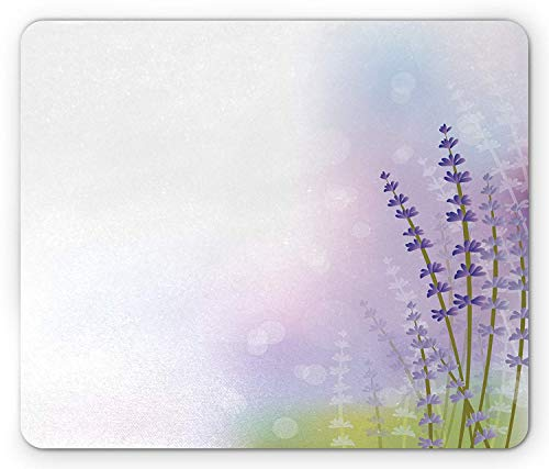 Preisvergleich Produktbild Lavender Mouse Pad,  Nature Inspired Abstract Backdrop with Gentle Pastel Lavender Stems,  Standard Size Rectangle Non-Slip Rubber Mousepad,  Violet Olive Green Lilac