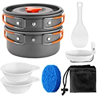 (suit) - Odoland Camping Cookware Set Outdoor Backpacking Gear & Hiking Cooking Equipment 8pcs