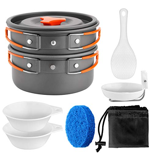 Odoland Camping Cookware Set Outdoor Backpacking Gear & Hiking Cooking Equipment 8pcs Small Pot Pan Kit Perfect for 1-2 Person