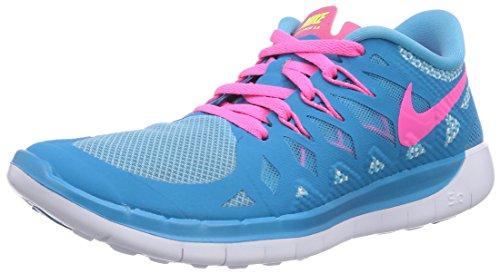 Nike Mädchen Free 5.0 Laufschuhe, Blau (Blue Lagoon/Pink Pow/White/Volt), 38.5 EU