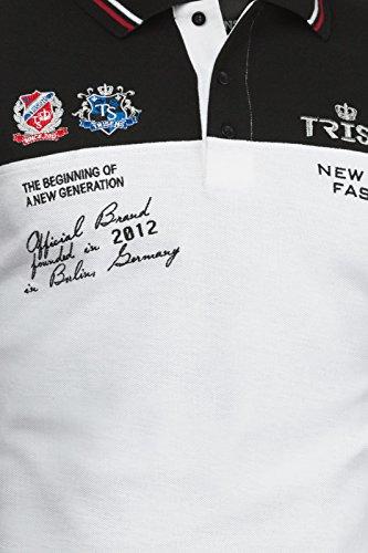 Trisens Herren Sommer Poloshirt T-Shirt Hemd Stickerei Baumwolle Party Polohemd Schwarz / Weiß
