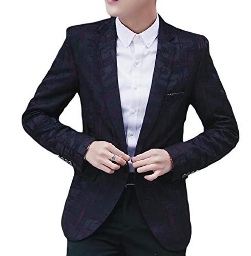 Andopa Herren floral blazer kerbe revers single button comfort soft welt jacke XL WinRot - Kerbe Revers Single