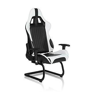 hjh OFFICE 621770 silla de oficina RACER COMPACT piel sintética marrón claro / negro, buen acolchado, inclinable, muy cómodo, con apoyabrazos plegables, fácil de limpiar, estable, silla escritorio, sillón oficina