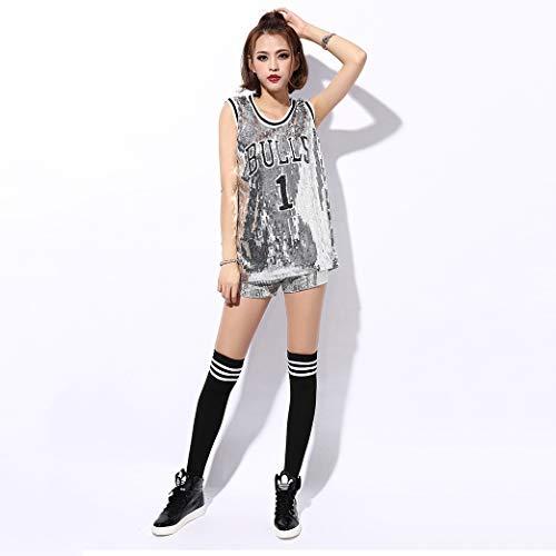 CLOTHES Frauen Cheerleader Uniform Pailletten Hip Hop Street Dance Kostüme, Nachtclub Kostüme Basketball Fußball Baby Uniformen Hemden + ()