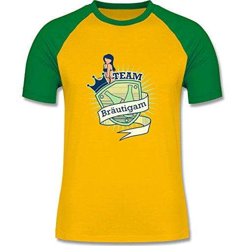 JGA Junggesellenabschied - Team Bräutigam Schild - zweifarbiges Baseballshirt für Männer Gelb/Grün
