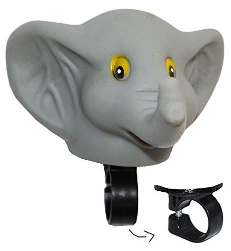 Fahrradhupe / Fahrradklingel - Elefant - Fahrrad für Kinder - passend für alle Größen - bunt Kinderglocke - Mädchen & Jungen - Tier Lenkerhupe - Tier / Quietscher - Quietschtier - Tierfigur / Ballhupe