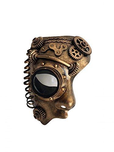Dark Dreams Gothic Steampunk Maske Half Face halbe Augenmaske Android Roboter Cyber Sci (Roboter Kostüm Android)