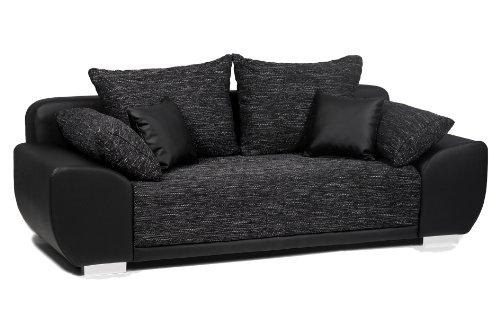 Collection AB Schlafsofa Mailand-FK Materialmix Struktur und Kunstleder , schwarz-anthrazit  225x91cm