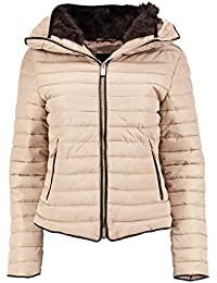 Womens Ladies Quilted Padded Coat Bubble Puffer Jacket Fur Collar Hooded Thick [Stone, UK S]
