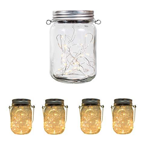 Aons Solar-Laterne Wasserdichte 4 Stück 20 Leds leuchtet Perlen Glas Hängeleuchte Outdoor String Laterne Dekoration für Zuhause Party Garten Hochzeit (Warmweiß) - Sonne Original Speicher