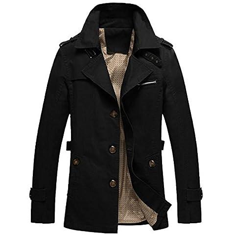 Hommes Trench-Coat Veste Militaire Pardessus Manches Longues Manteau Jacket Noir M