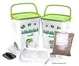 Skaza-Mente Il Tuo Eco Bokashi Organico Kitchen composter, Bianco/Verde Chiaro