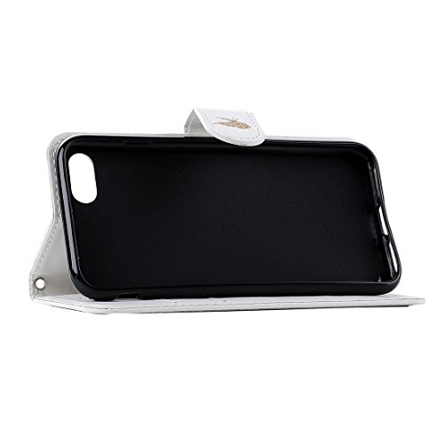 Für iPhone 7 Plus Laser Carving Schmetterling Pattern Horizontale Flip PU Leder Tasche mit Magnetverschluss & Halter & Card Slots & Wallet by diebelleu ( Color : Black ) White