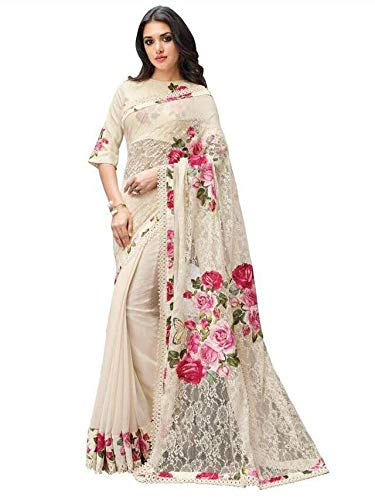 Vanishri Women\'s Georgette Net Half Saree (Vanishri1217A_Off-White)