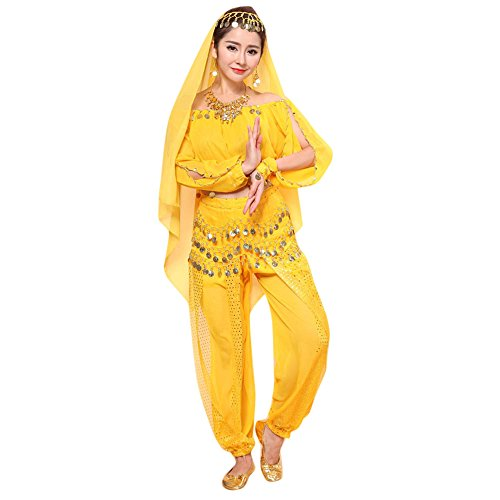 Sllowwa Damen Bauchtanz Kostüme Set Bellydancer Indische Dancing Dress Kleidung Top Hosen(Gelb,Medium) (Schnell Und Einfach Indischen Kostüm)