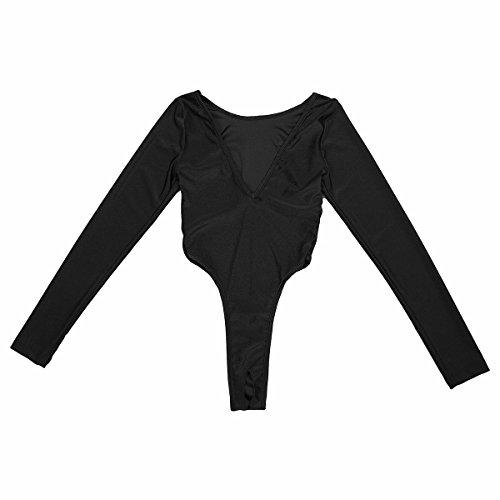 IINIIM Justaucorps Bodys Tops T-shirts à Manches Longues en Profond COL V Lisse String Léotard Jumpsuit de Sport Bodycon Lingerie de Nuit Noir