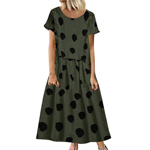n Rundhalsausschnitt Rüschen Punkte Sommerkleider Mini Strandkleider Casual Lose T-Shirt Kleid Polka Dots Pinup Retro Rockabilly Partykleid Elegant Abendkleid ()