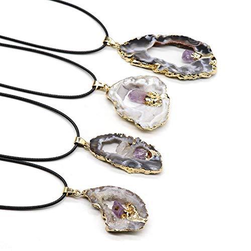 Ciondolo in cristallo a fetta di geode in agata naturale, collana di pietre preziose semi-preziose irregula con collane con bordo placcato in oro per regalo donna (1pz)