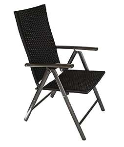 2x klappsessel imola alu geflecht schwarz 7 fach verstellbar wetterfest. Black Bedroom Furniture Sets. Home Design Ideas