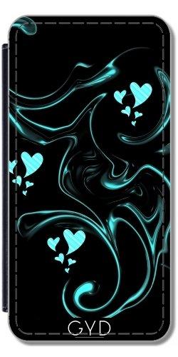 Leder Flip Case Tasche Hülle für Apple iPhone 6/6S - Herzen In Schwarz by Marina Kuchenbecker Lederoptik