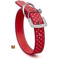 Collare Rosso per Cane Taglia M in PU Cuoio Regolabile