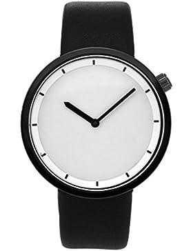 JSDDE Uhren,Minimalismus Armbanduhr Schwarz Gehäuser Zeitloses Design 3ATM Uhr Lederarmband Analog Quarzuhr,Schwarz...
