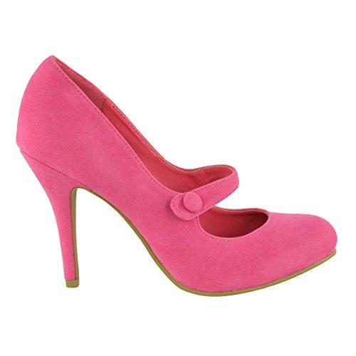 DONNE Basse MEDIO tacco alto cinturino alla caviglia Décolleté LAVORO décolleté sandali taglia Rosa Shocking Scamosciata
