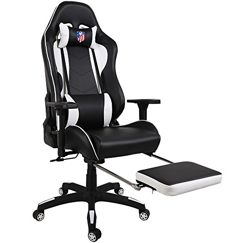 Kinsal sedia gaming ergonomica schienale alto, sedia da gioco di grandi dimensioni, sedia da scrivania girevole sedia da gioco per pc con poggiatesta extra morbido, supporto lombare e poggiapiedi retrattile (nero/bianco)