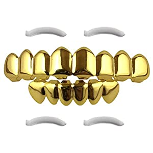 Top Class Jewels 24K vergoldeter Grillz mit Micropave CZ Diamanten + 2 EXTRA Formteile (Jeder Stil, Weißgold, Silber, Gold, Diamanten) (Gold 8)