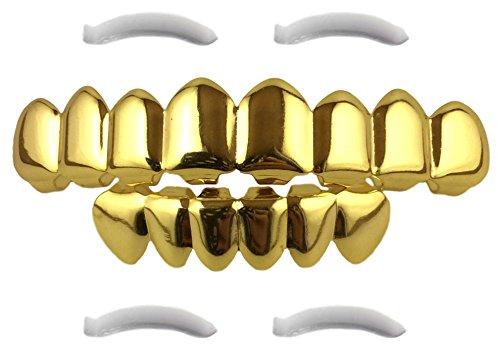 Mit 24K vergoldete 8 Zahn-Grillz für obere und untere Zahnreihe, Hip-Hop-Gebiss +...