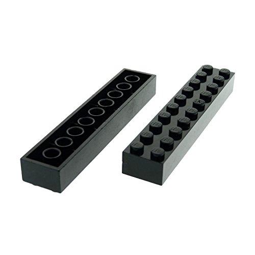 2 x Lego System Basic Bau Stein schwarz 2 x 10 für...