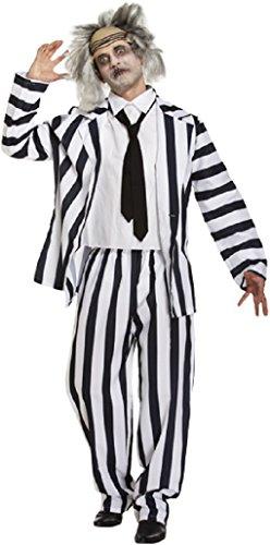 Herren Schwarz Weiß Beetlejuice Halloween Film Kostüm Kleid Outfit STD & XL - Schwarz/weiß, (Herren Für Kostüm Beetlejuice)