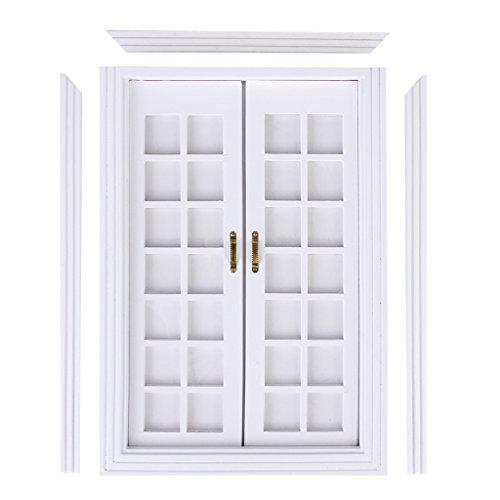 CUTICATE Maßstab 1:12 Puppenhaus Miniatur Weiß Holz Doppel Französisch Tür \u0026 Rahmen DIY -