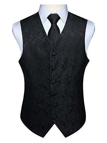 Hisdern Manner Paisley Floral Jacquard Weste & Krawatte und Einstecktuch Weste Anzug Set, Schwarz-2, Gr.-5XL (Brust 60 Zoll) Zwei Krawatten