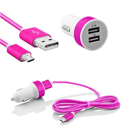 Micro USB KFZ Ladegerät 2.1A und 1.0A Dual Lade Adapter für Zigarettenanzünder Auto Ladekabel mit Nylon Kabel für Handys Smartphones Tablets Samsung Galaxy, Oneplus, Sony Xperia, LG, Nexus, HTC in Pink