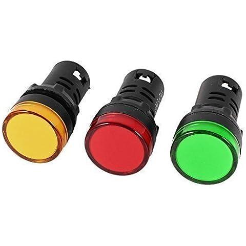 Bombilla Indicadora de Panel de Piloto de LED AC220V - 22mm - 3 Piezas - Luz Verde, Amarilla, Roja