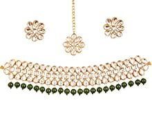 Touchstone New Indian Bollywood Desire Exclusive Mughal Era Inspired Stylish Traditional Kundan Polki Look Designer Bridal Designer Jewelry Choker Necklace Set. in Antique Gold Tone for Women.