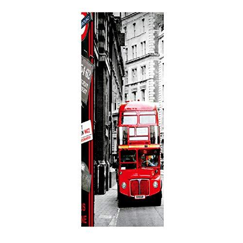 HEDDK 3D Türposter Selbstklebend Tür Wandbilder Aufkleber Foto Bus Szenen Tapete Abnehmbare Selbstklebende Wandbilder Schlafzimmer Büro Wandaufkleber Poster Home Weihnachtsdekoration Geschenk