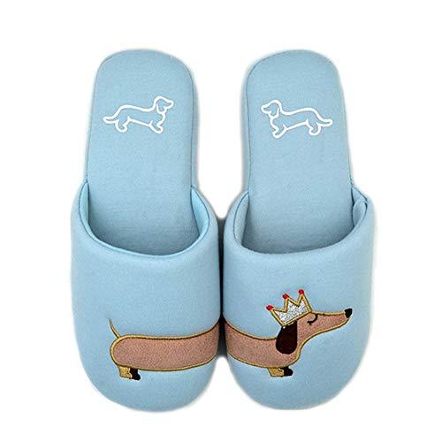 amen Fuzzy hellblauer Hund Plüsch Baumwolle Hausschuhe Slip On Dackel Plüsch Hausschuhe, 38 EU ()